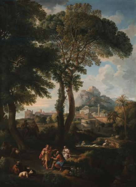A classical river landscape with figures greeting one another on a road in the foreground, a view of a city in the distance (oil on canvas)