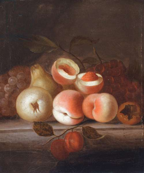 A still life of peaches and other fruit (oil on canvas)