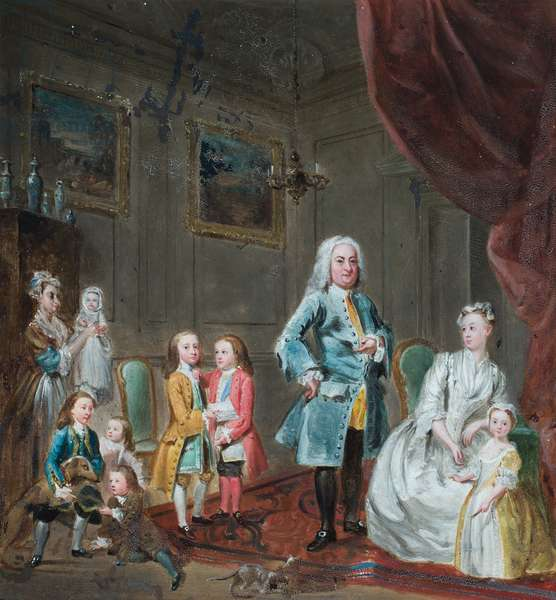 Portrait of the 3rd Lord Oxford and his family (oil on paper)