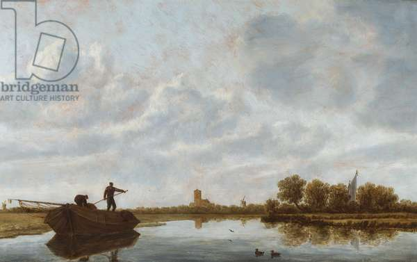 Men on a barge in a river landscape with a distant church (oil on panel)