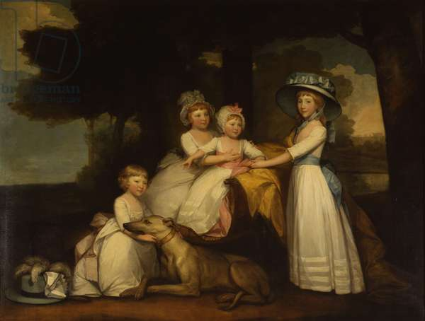 Portrait of the children of the 2nd Duke and of Duchess Northumberland - Lady Elizabeth Percy, Earl Percy, Lady Julia Percy and Lady Agnes Percy, 1787 (oil on canvas)