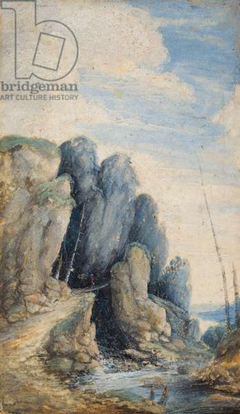 A traveller on a bridge in a rocky river landscape, 1590-1630 (oil on panel)