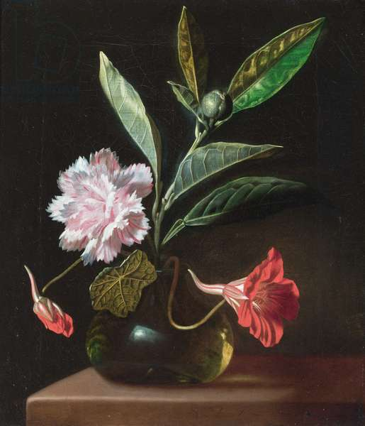 A still life of flowers in a vase on a stone ledge (oil on canvas)