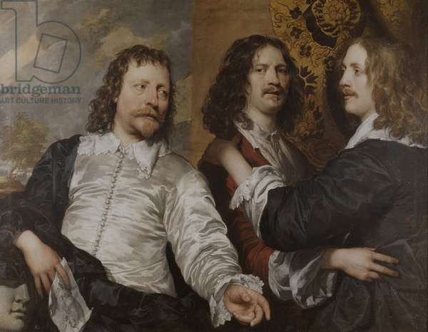 Portrait of the artist, with Nicholas Lanier and Sir Charles Cotterell, c.1636 (oil on canvas)