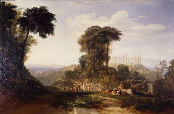 View of the Temple of Jupiter Panellenius, in the Island of Aegina, with the Greek National Dance of the Romaika: the Acropolis of Athens in the distance, 1816 (oil on canvas)