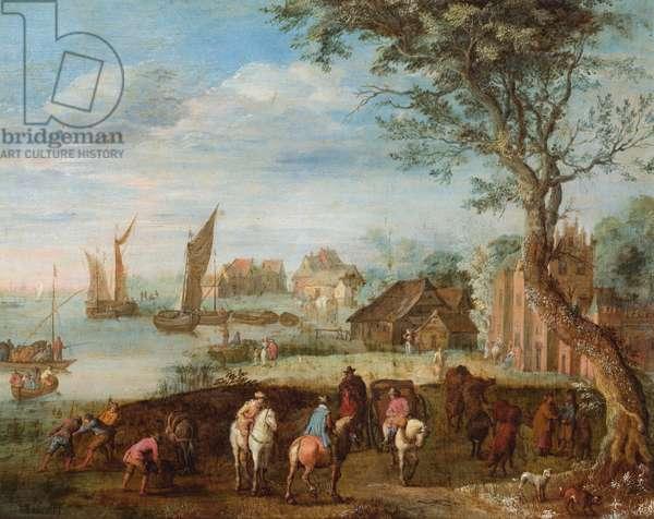 Horsemen by a river, buildings beyond (oil on copper)