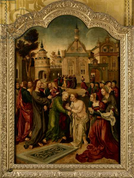 The raising of Lazarus, the central panel of an altar piece, 1495-1562 (oil on panel)