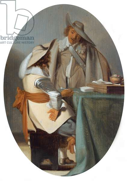 Two men in conversation at a table (oil on panel)