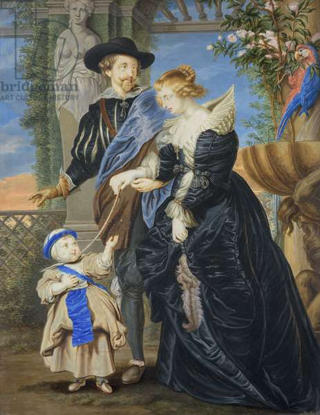Rubens with his wife and child, 1717 (watercolour and bodycolour and gum arabic)