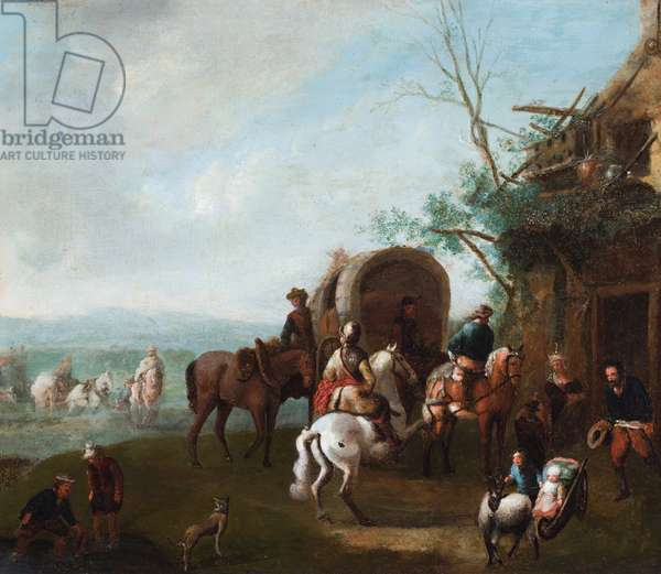 Travellers outside an inn with a man on a rearing white horse (oil on metal)