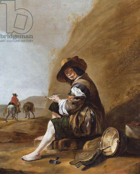 A peasant boy, seated and smoking (oil on canvas)