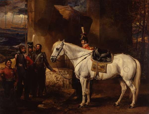 Count Platoff's favourite charger and five of his cossacks, c.1815 (oil on canvas)
