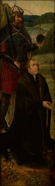 King Constantine and a donor; one wing of an altarpiece (oil on panel)