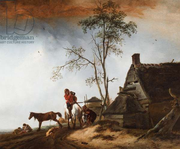 Travellers resting near a cottage with a dog and a horse, 1615-88 (oil on panel)