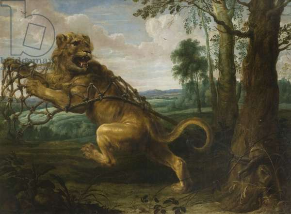 The Lion and the Mouse (oil on canvas)