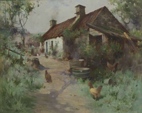 Bothy with Poultry (oil on canvas)