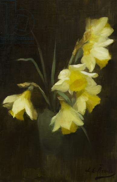 Daffodils in a vase (oil on canvas)
