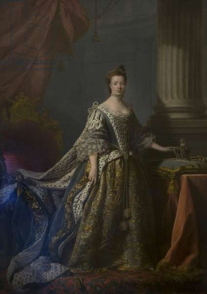 Queen Charlotte in her Coronation Robes (oil on canvas)