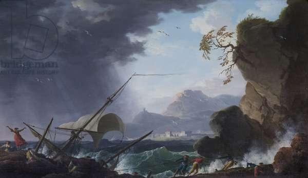 A Wreck on a Rocky Coast (oil on canvas)