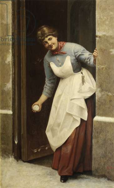 Woman with a snowball (oil on canvas)