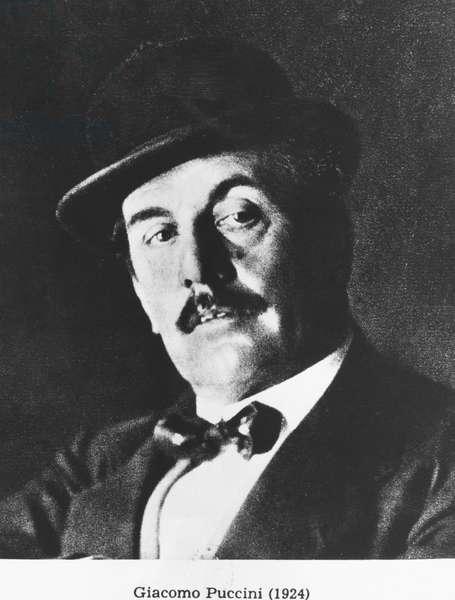 Giacomo Puccini (1858-1924) 1924 (photolitho) (b/w photo)