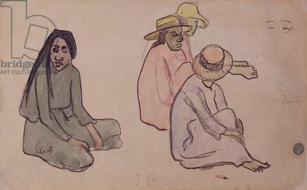 Study of Tahitians (w/c, ink & pencil on paper)