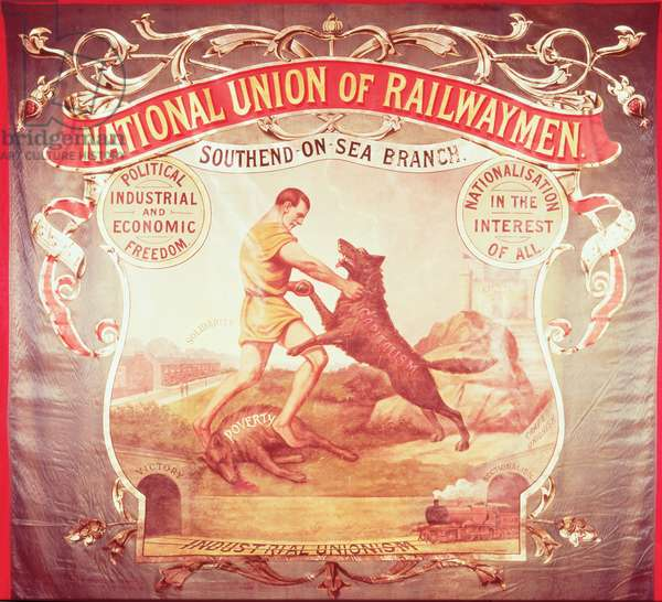 Banner of the Southend-on-Sea branch of the National Union of Railwaymen, 19th century