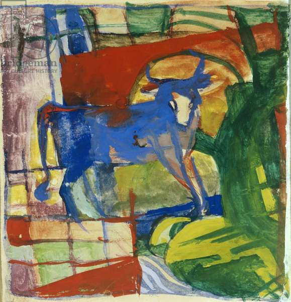 Blue Cow, 1914 (tempera on paper)