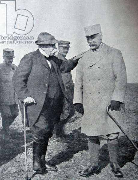 Georges Clemenceau and General Philippe Petain, 1917 (b/w photo)