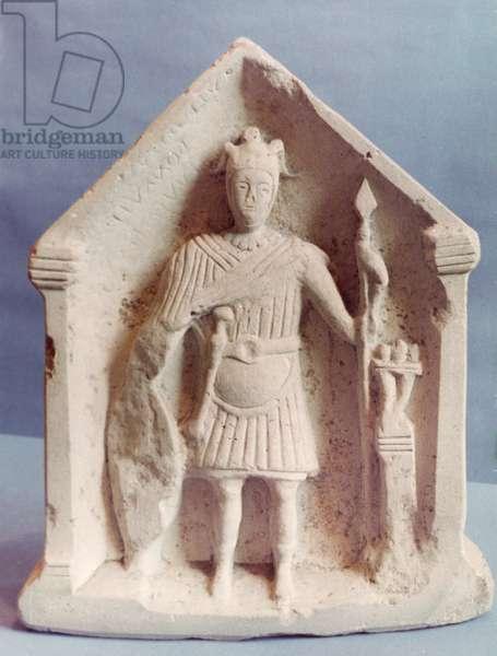 Military votive tablet, found at Bisley, Roman (stone)