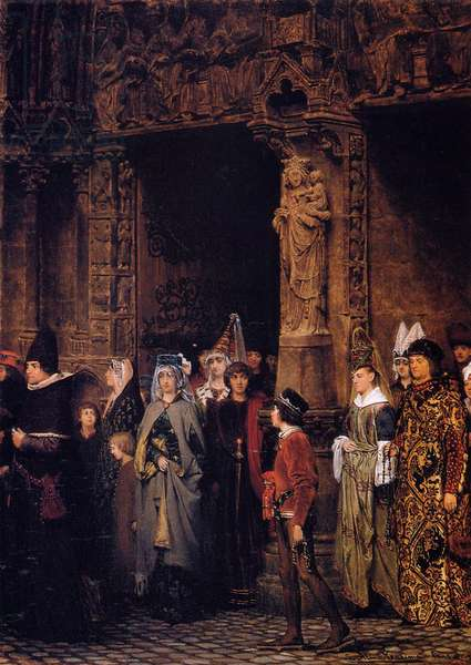 Leaving Church in the Fifteenth Century, 1864 (oil on canvas)