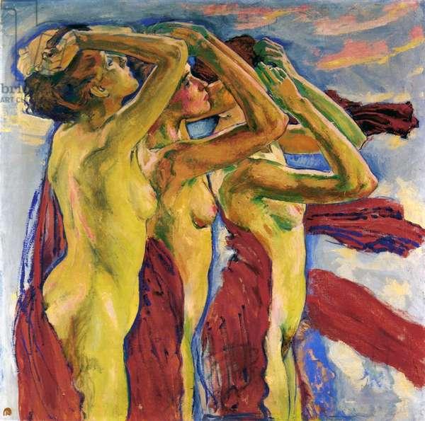 Three Nudes (oil on canvas)
