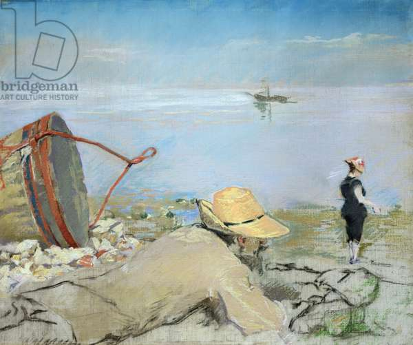 Henri Guerard Relaxing on the Beach (pastel on canvas)