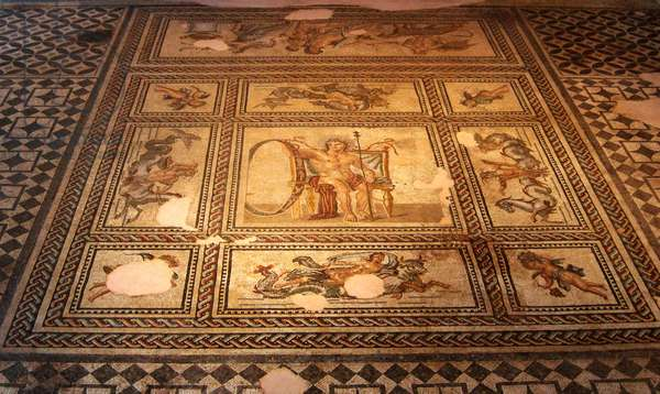 Roman mosaic of astrology, Archaeological Museum, Arles, France (photo)