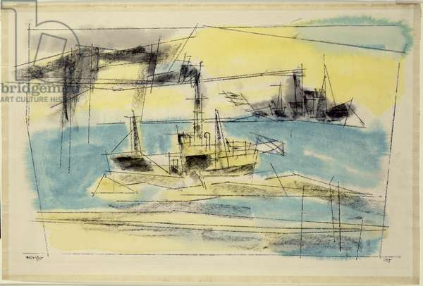 The Marina, 1955 (w/c, pencil, pen and ink on paper)