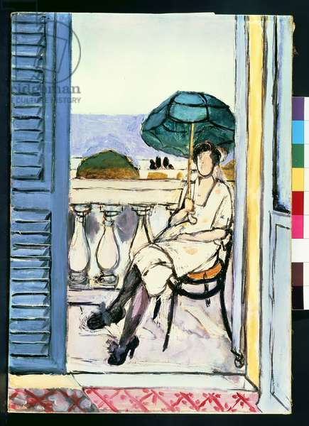 Woman with a Green Parasol on a Balcony, 1918-9