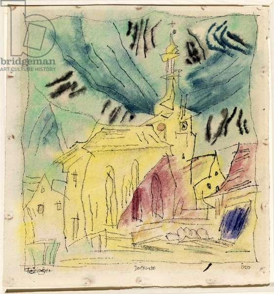 The Village Church, 1920 (w/c, pencil & ink on paper)