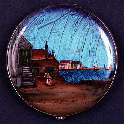 Art Deco watch case depicting scene at St. Ives, Cornwall, 20th century (enamel)