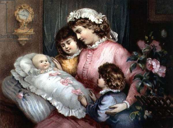 The Little Family (colour engraving)