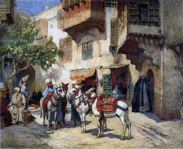 Oriental Street with Donkeys (oil on canvas)