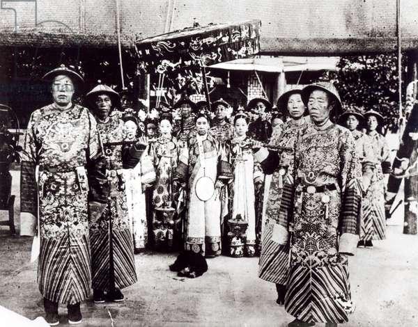 Tz'u Hsi (1835-1908) Empress Dowager of China, 1903 (b/w photo)