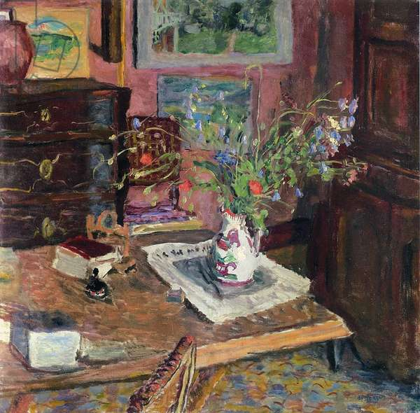 Interior with flowers, c.1910 (oil on canvas)