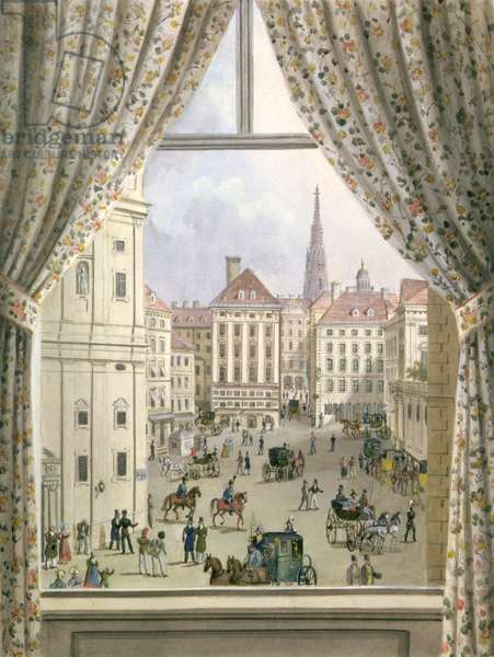 View of the Freyung, Vienna, 1825 (gouache on paper)