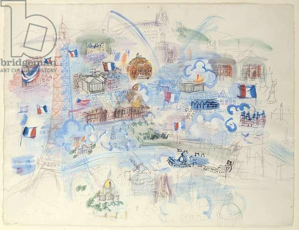 Paris, 14th July (gouache on paper)