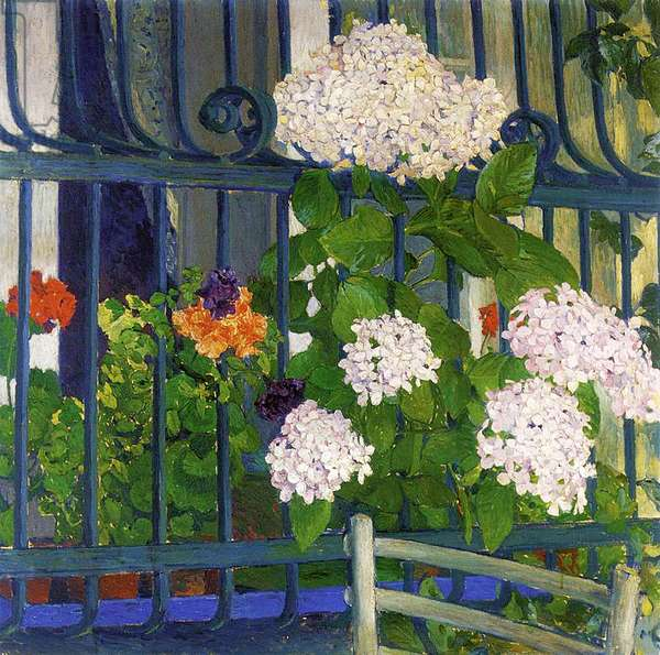 Geraniums (oil on canvas)