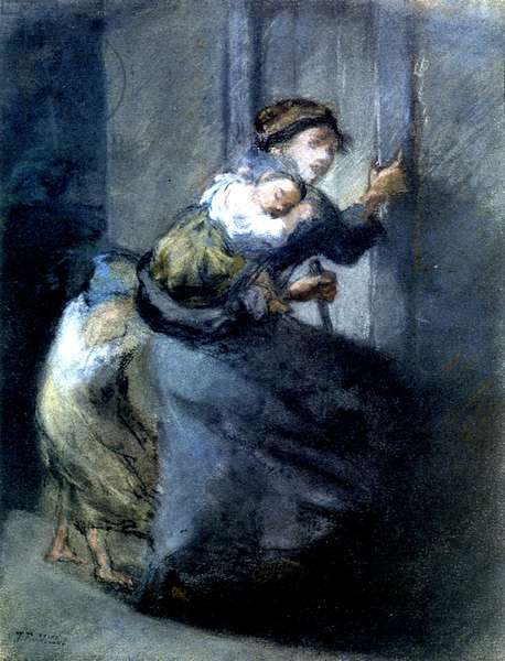 A Mother Fleeing with Two Children (pastel on paper)