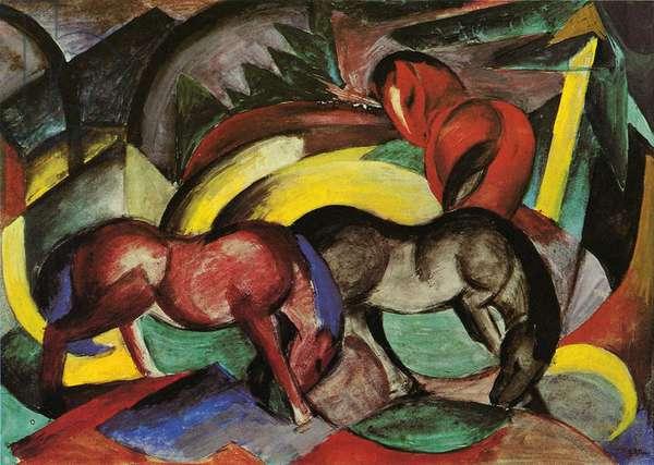 Three Horses, 1912 (mixed media on paper)