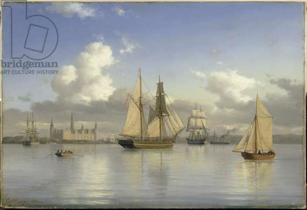 Sailing Vessels off Kronborg Castle, Sweden, 1880 (oil on canvas)