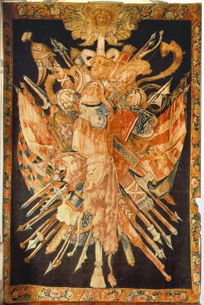 Tapestry depicting war trophies (textile)
