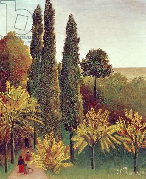 Path in the Buttes Chaumont Park, Paris, 1908 (oil on canvas)